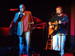 dan and myself onstage at tupelo music hall