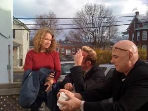 chatting outside with joan, john and bob lohrmann