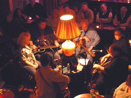 at chaplins' with craig bickhardt, jim femino, skip denenberg and kassie miller, 2007.
