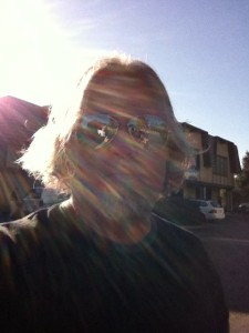 walking around town from music store to music store with the sun on our backs.