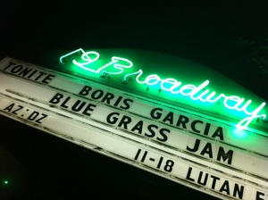 the marquee on the first night of the tour in Fairfax, CA