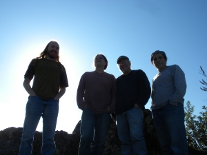the boys recreating the album cover from the Eagles' debut in the mountains....