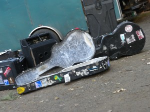 backstage debris during load-in.